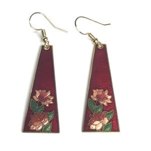 Jewelry - Cloisonné Earrings Pierced Red Triangle Shape